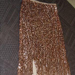 Rose gold Maxi skirt.